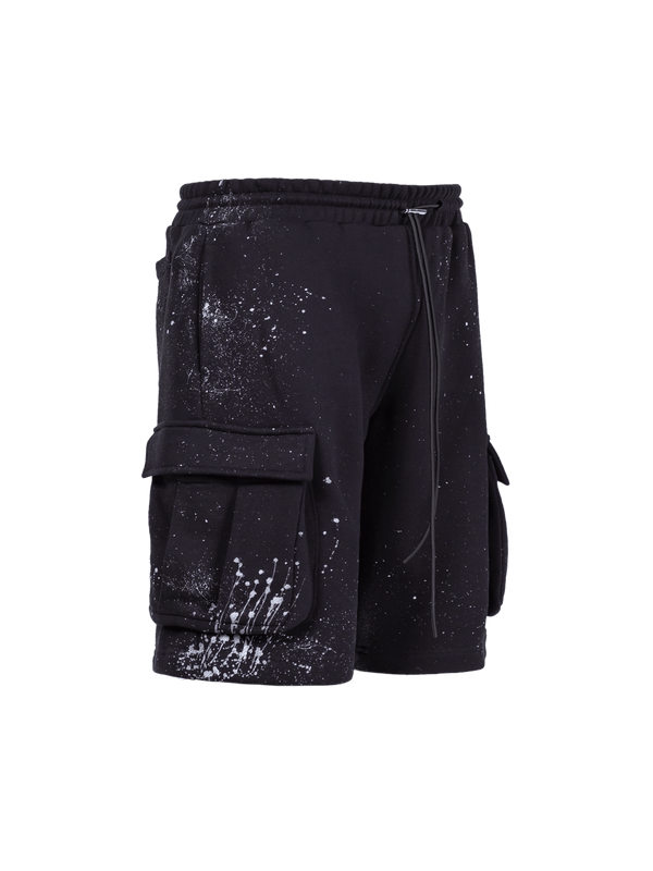Splatter Cargo Shorts - Black