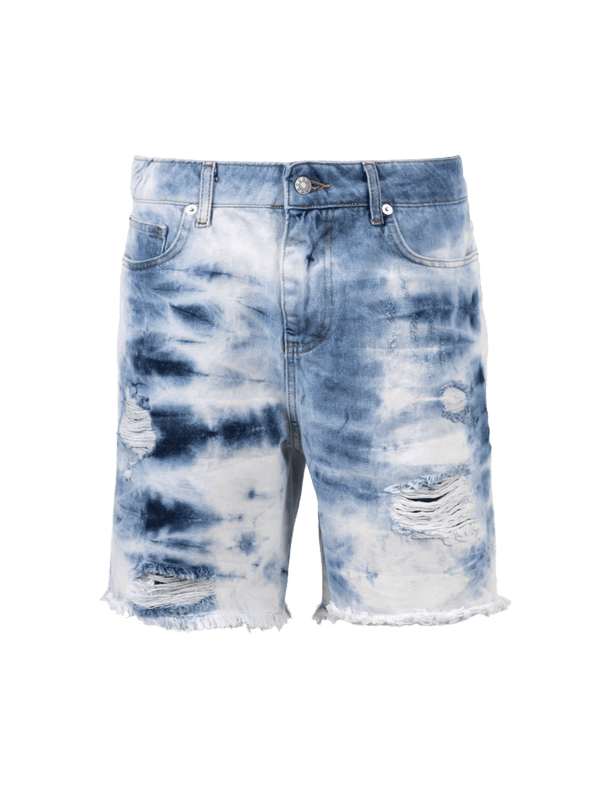 Tie Dye Shorts - Light Wash