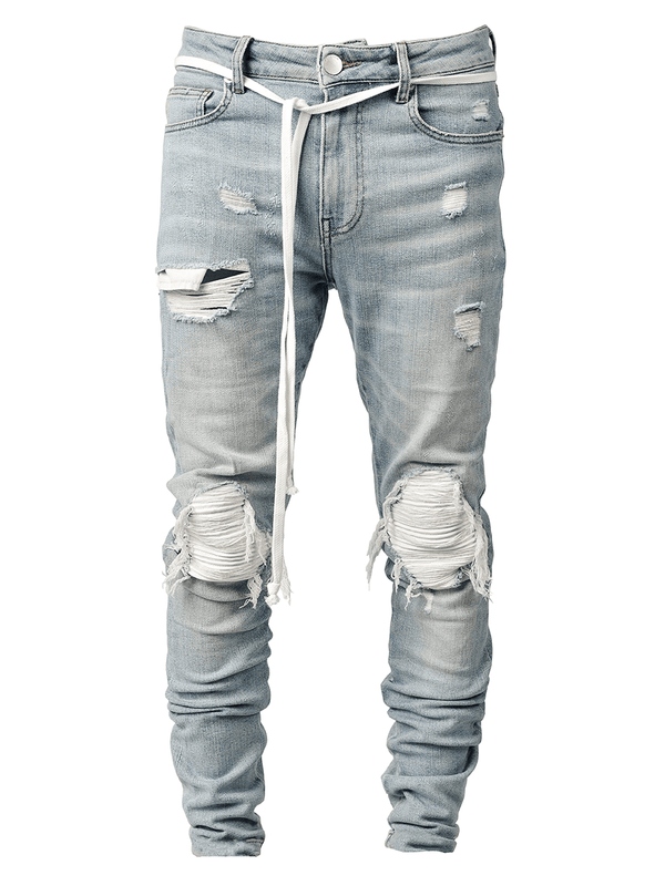 Biker Patch Denim - White - lakenzie