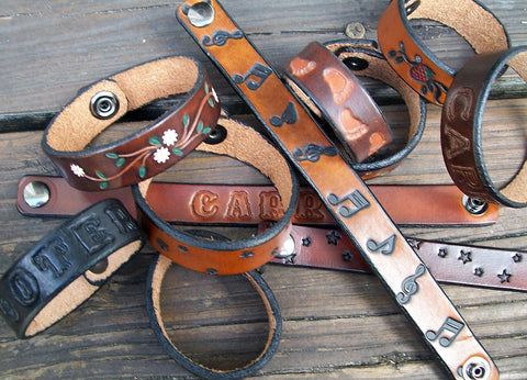 Narrow Leather Wristbands Handmade by Old School Leather Company