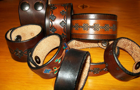 Leather Wristbands Handmade by Old School Leather Co.