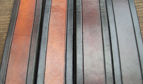 Grooved Leather Belts handmade by Old School Leather Co.