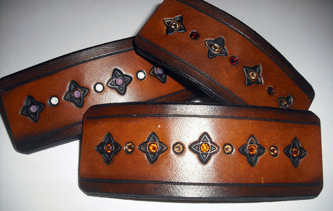 Leather French Barrettes handmade by Old School Leather Co.