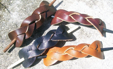 Extra Large Leather Barrettes handmade by Old School Leather Co.