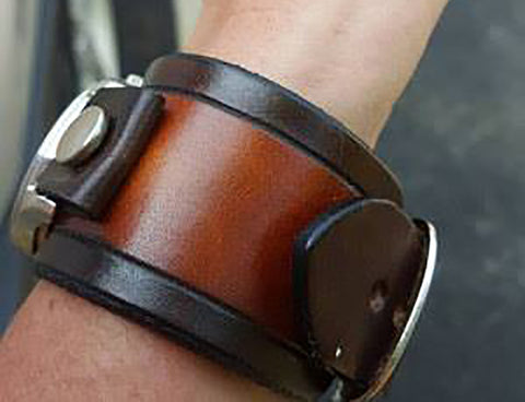Grooved Leather Watch Bands handmade by Old School Leather Co.