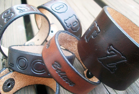 Personalized Leather Wristbands | Leather Name Bracelets