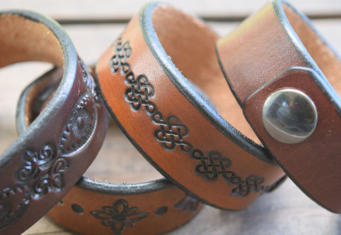 One Inch Handmade Leather Wristbands | Snap Cuffs | Name Bracelets