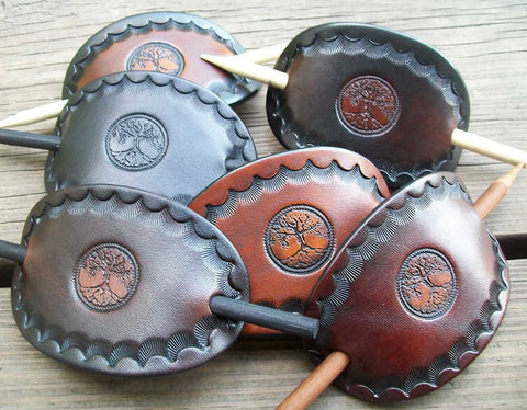 Tree of Life Handmade Leather Barrettes - Medium