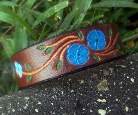 Blue Flowers Handmade Leather Wristband | 3/4""