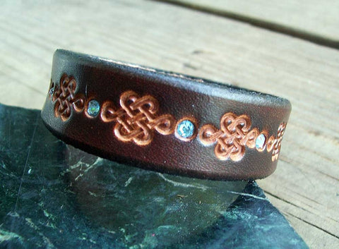 Handmade Leather Bracelet | Celtic | Bling