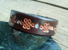 Celtic Leather Bling Wristband