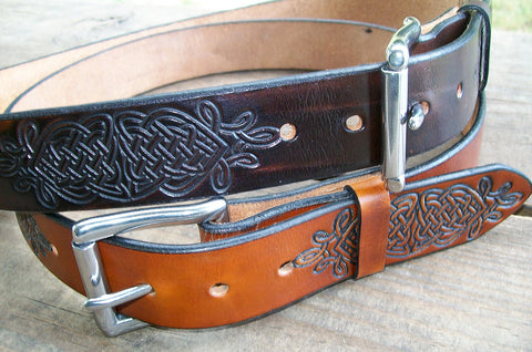 Celtic Knot Leather Belts - 1.5""