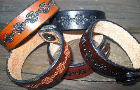 Narrow Celtic Knot Leather Wristbands | 3/4 Inch