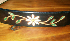 Tooled Daisy Flower Leather Design
