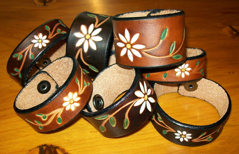 Handmade Leather Bracelets with Tooled and Painted Daisy Flower Design