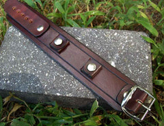 Grooved Mahogany Leather Watch Cuff