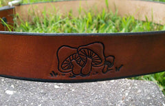 Handmade Leather Belt with Mushrooms