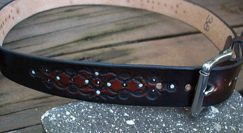 Two Tone Leather Bling Belt with Inlaid Swarovski Crystals