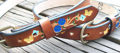 Child Leather Belt with Blue Flowers and Butterflies | Free Personalizing