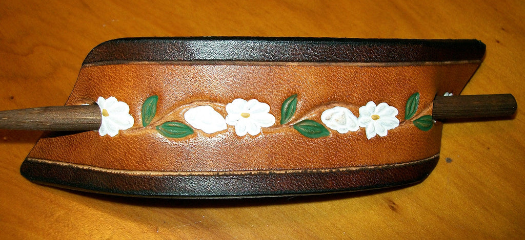 Two Tone Daisy Flower Leather Stick Barrette