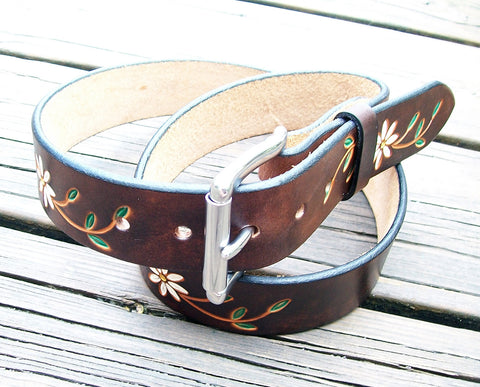 Daisy Flower Handmade Leather Belt | 1.5 ""