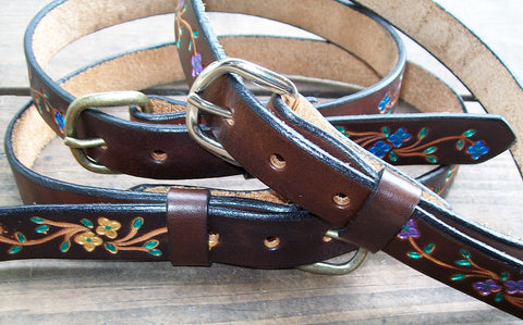 Bright Flowers Leather belts for Children