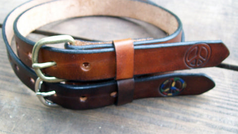 Kids Leather Belt with Peace Sign