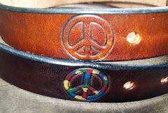 Peace Sign Leather Belts