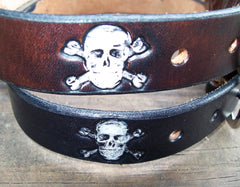 Jolly Roger Leather Belt