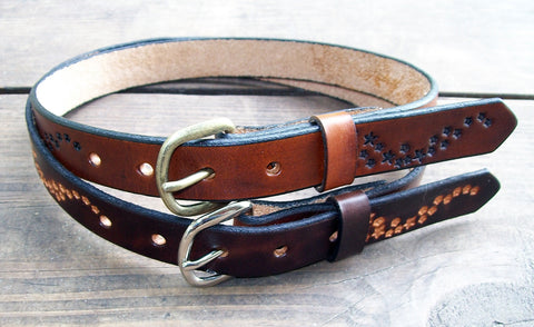 Leather Child Belt with Stars Design
