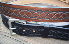 Tooled Cowhide Leather Belts