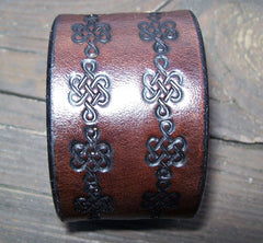 Handmade Celtic Knot Leather Snap Bracelet