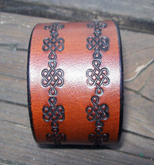 Celtic Knot Leather Snap Cuff