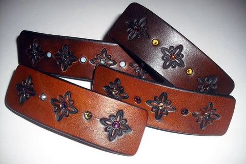 Leather French Barrettes with Crystals