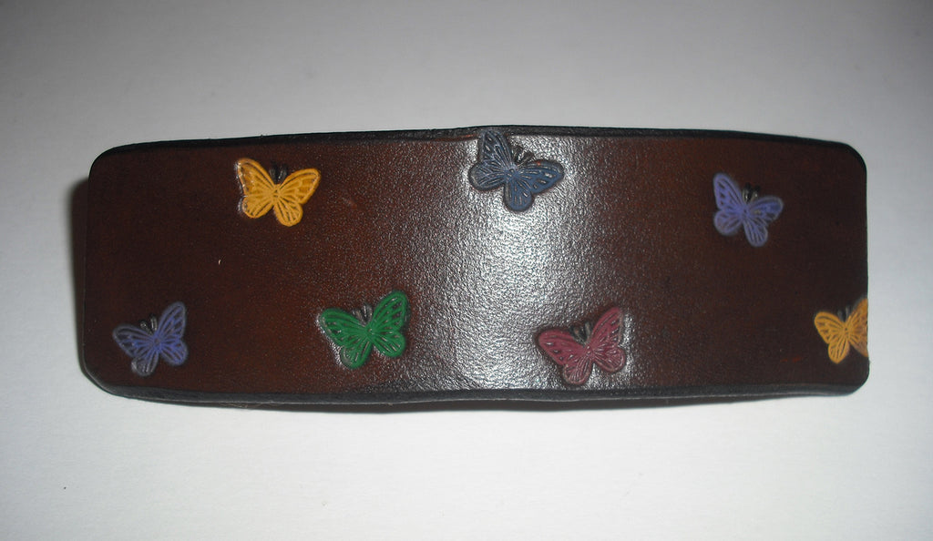 Butterfly Leather French Barrette