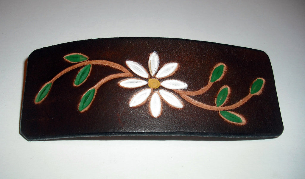 Daisy Flower Leather French Barrette