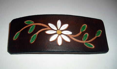 Daisy Flower Leather French Barrettes