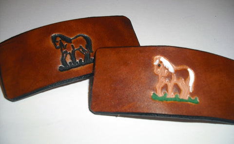 Pony Design Leather French Barrettes