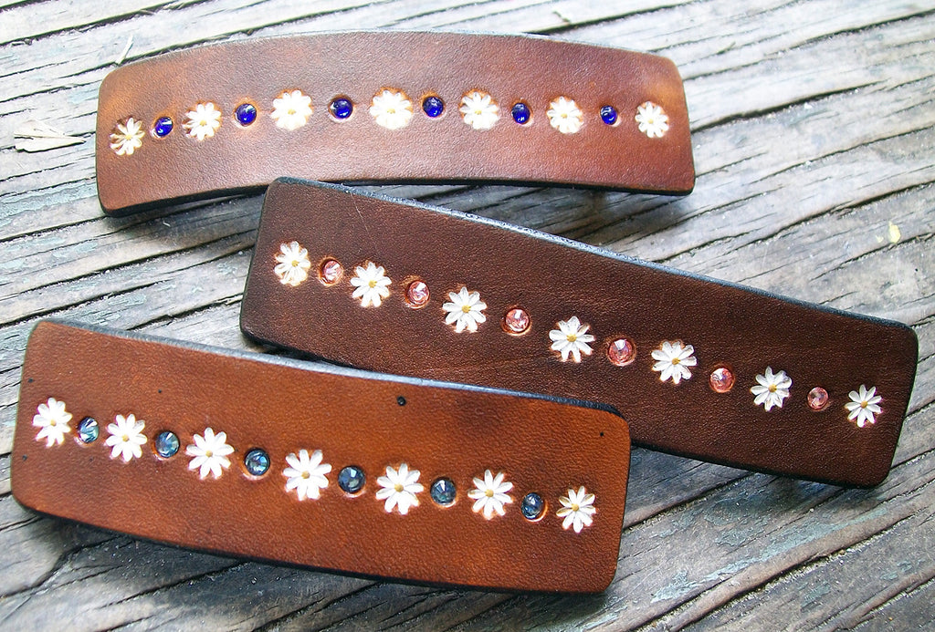 Swarovski Crystal Bling Leather French Barrette