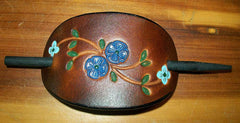 Small Leather Stick Barrette Blue Flowers