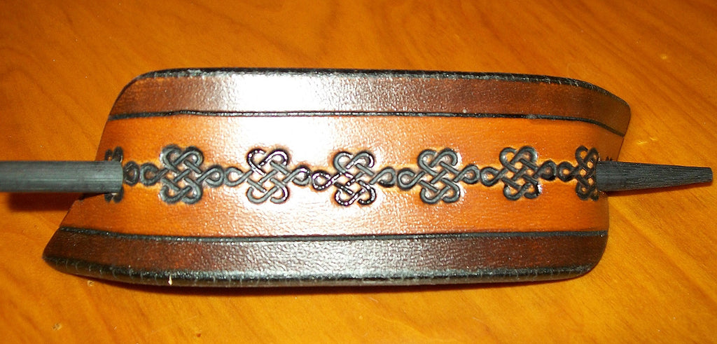 Celtic Knot Leather Stick Barrette