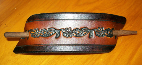 Antique Flower Chain Leather Ponytail Holder with Wooden Stick