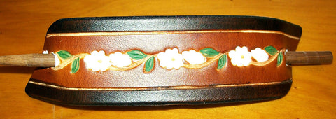 Hand Painted Daisy Flower Chain Extra Large Leather Barrette