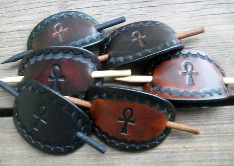 Egyptian Ankh Handmade Leather Stick Barrettes - Medium