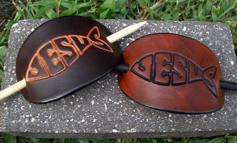 Christian Fish Jesus Leather Stick Barrettes