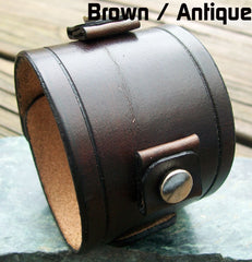 "Wide Leather Watch Cuffs | ""Grooved"" 