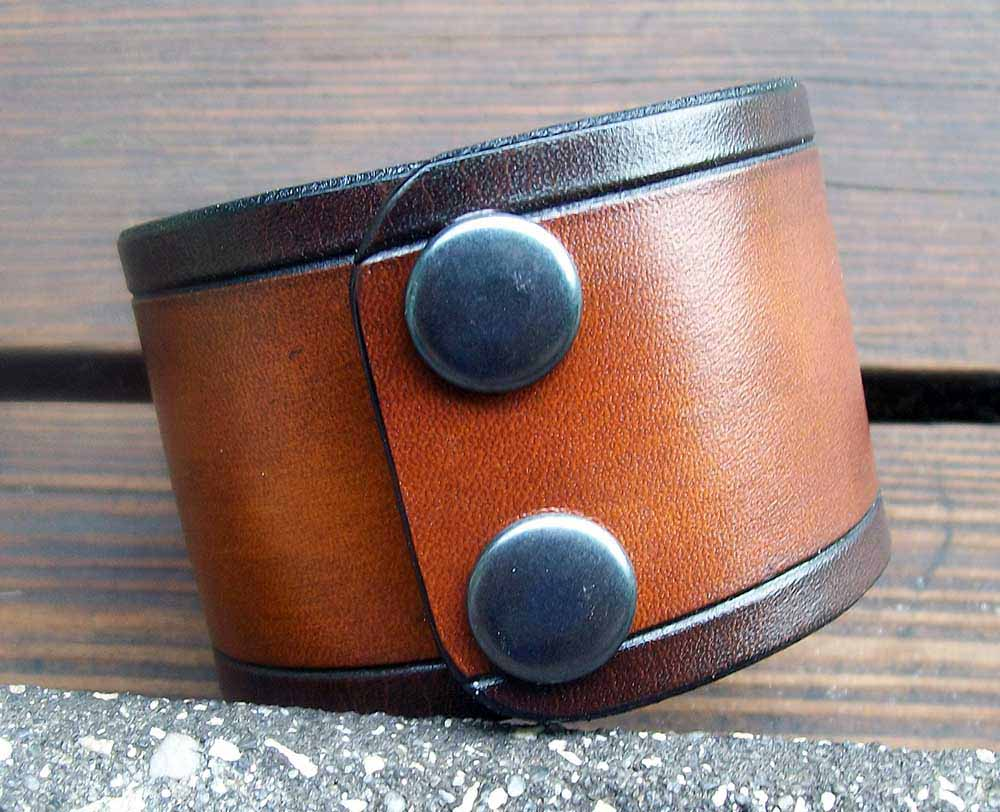 Two Tone Wide Leather Wristband