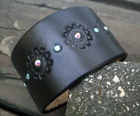Black Leather Bling Wristbands | 1.5 Inc Wide
