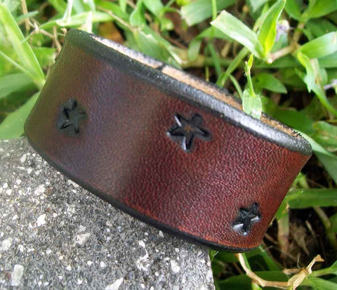 Celestial Stars Leather Wristband |  One Inch