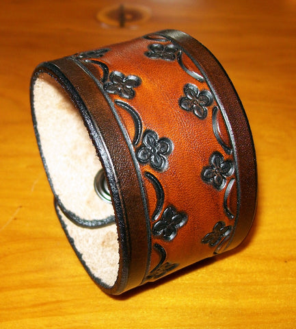 Two Tone Flower Tooled Leather Cuff Bracelet